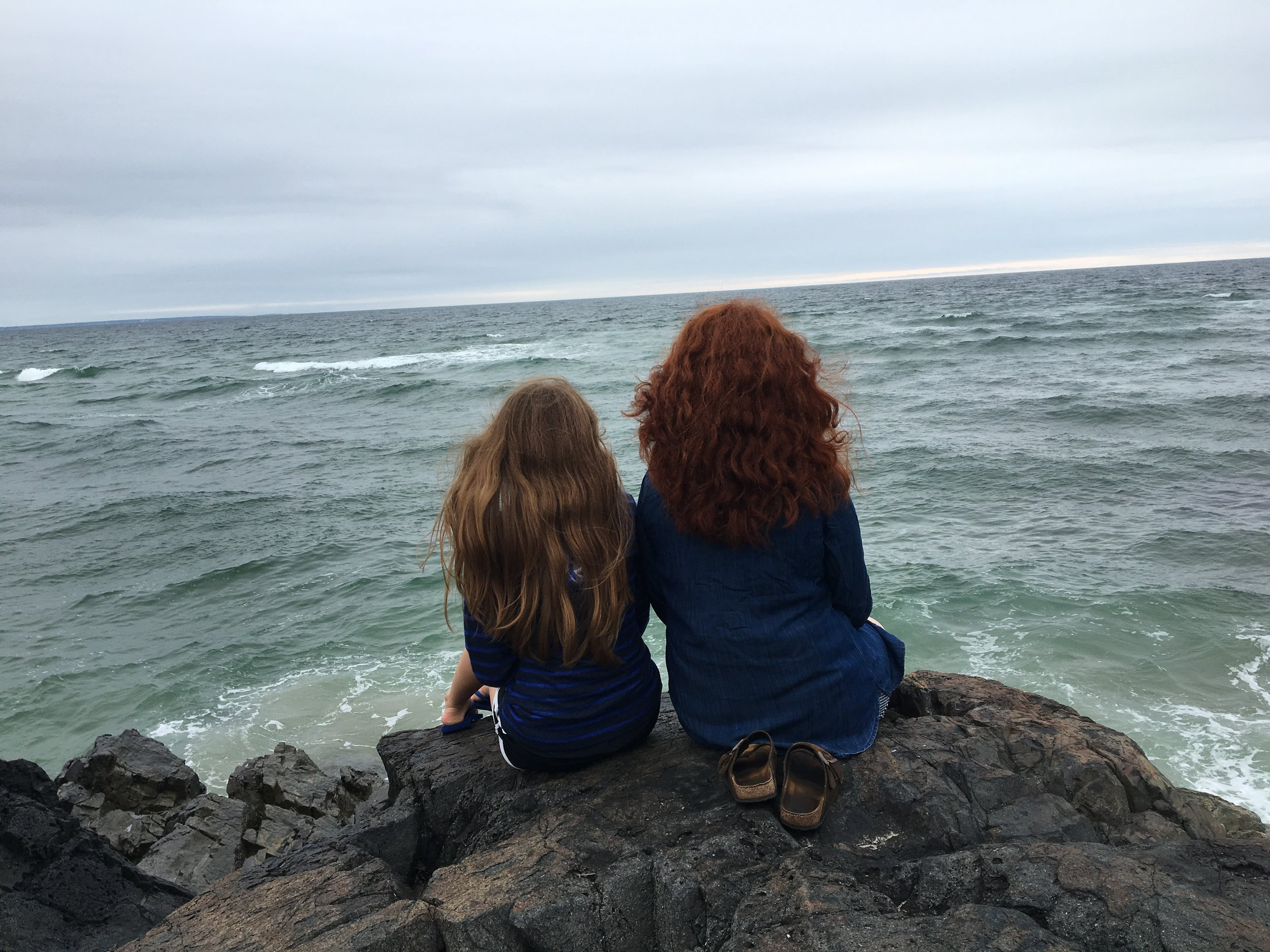 "My two daughters ""contemplating"" in Ogunquit, ME"