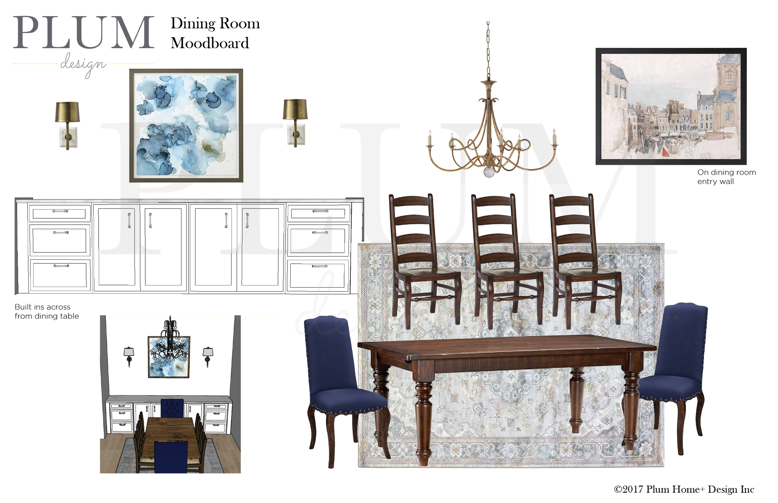 We recommended a wall of built in cabinetry in the dining room. Our client needed more storage for china and serving ware but it also double as another serving space when entertaining. Depending on your budget you could achieve this look with ready made cabinetry from a big box store.