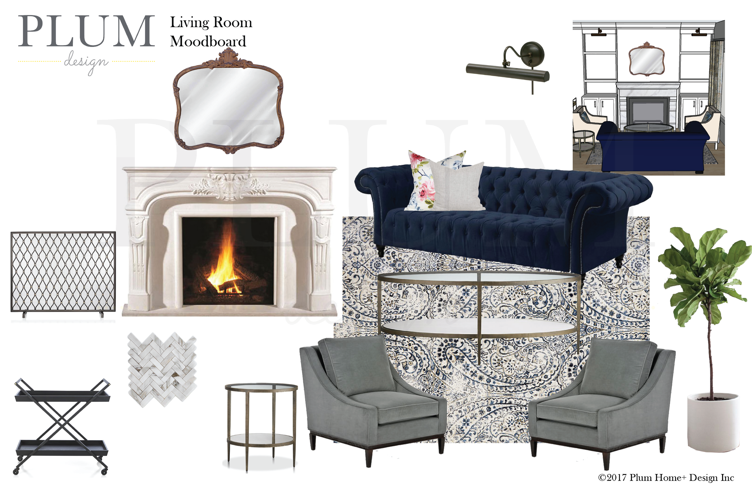 We were working with our clients existing sofa which was a pretty substantial size and we were working around two entryways into the space so the layout was tricky. Ultimately we wanted to create a beautiful fireplace as the focal point of the room. We are suggesting a show stopper marble mantle.