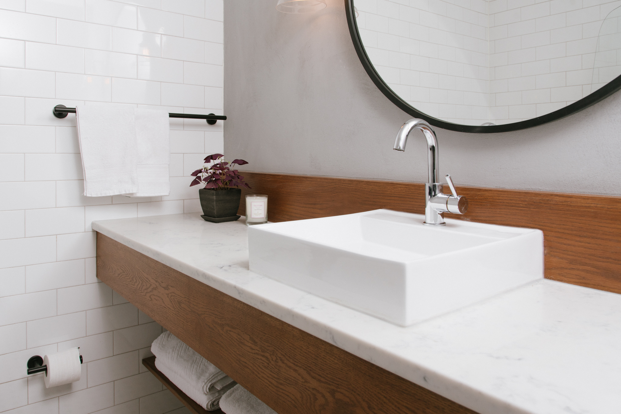 Our McLeod Building client's custom vanity featuring a quartz countertop.