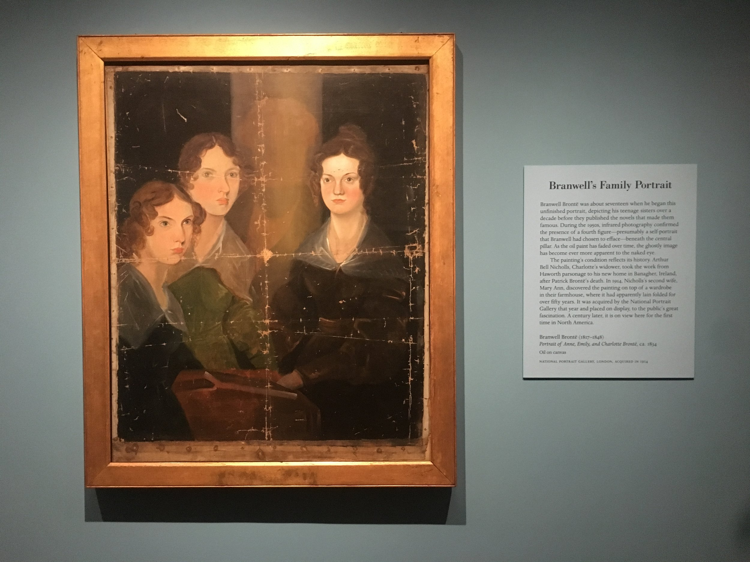 Branwell's Family Portrait. From left to right: Anne, Emily and Charlotte Brontë