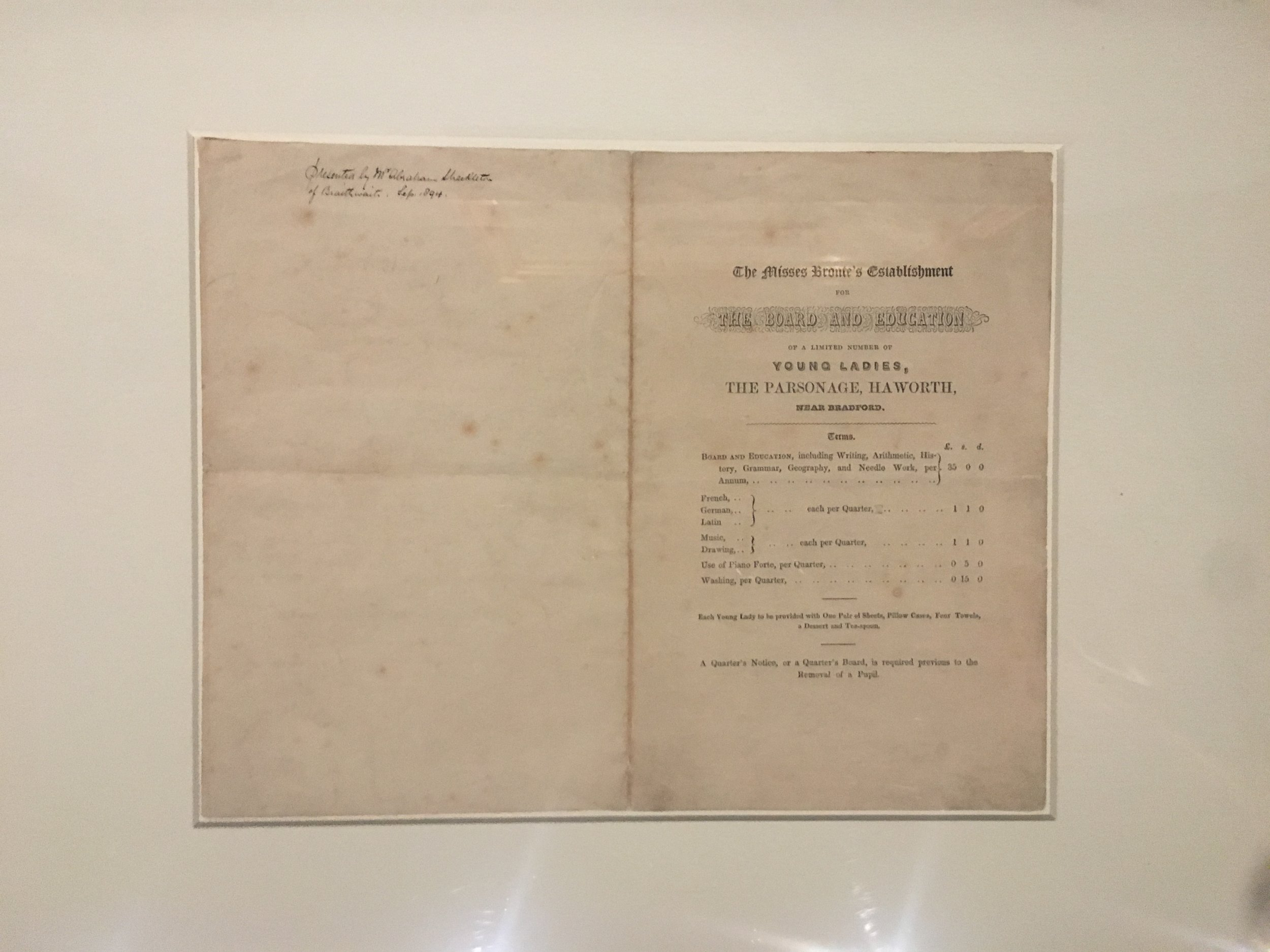 """A prospectus for """"The Misses Bronte's Establishment"""", the school which Charlotte , Emily and Anne intended to set up at Haworth Parsonage in 1844"""