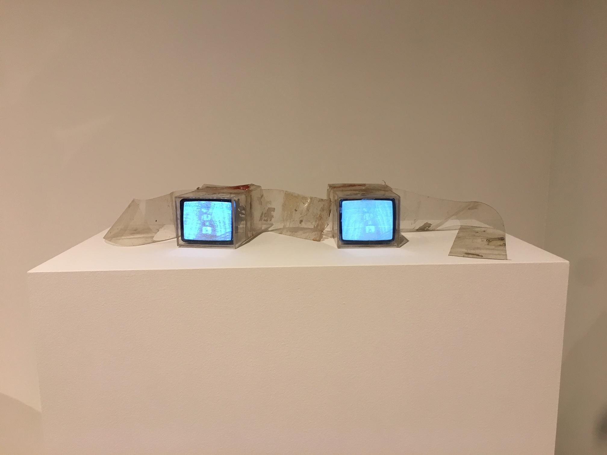 TV Bra for Living Sculpture, 1969, Nam June Paik (American, born Korea, 1932-2006), video tubes, television sets, rheostat, foot switches, Plexiglas boxes, vinyl straps, cables, and copper wire. Collection Walker Art Center, Minneapolis, T.B. Walker Acquisition Fund, 1991.