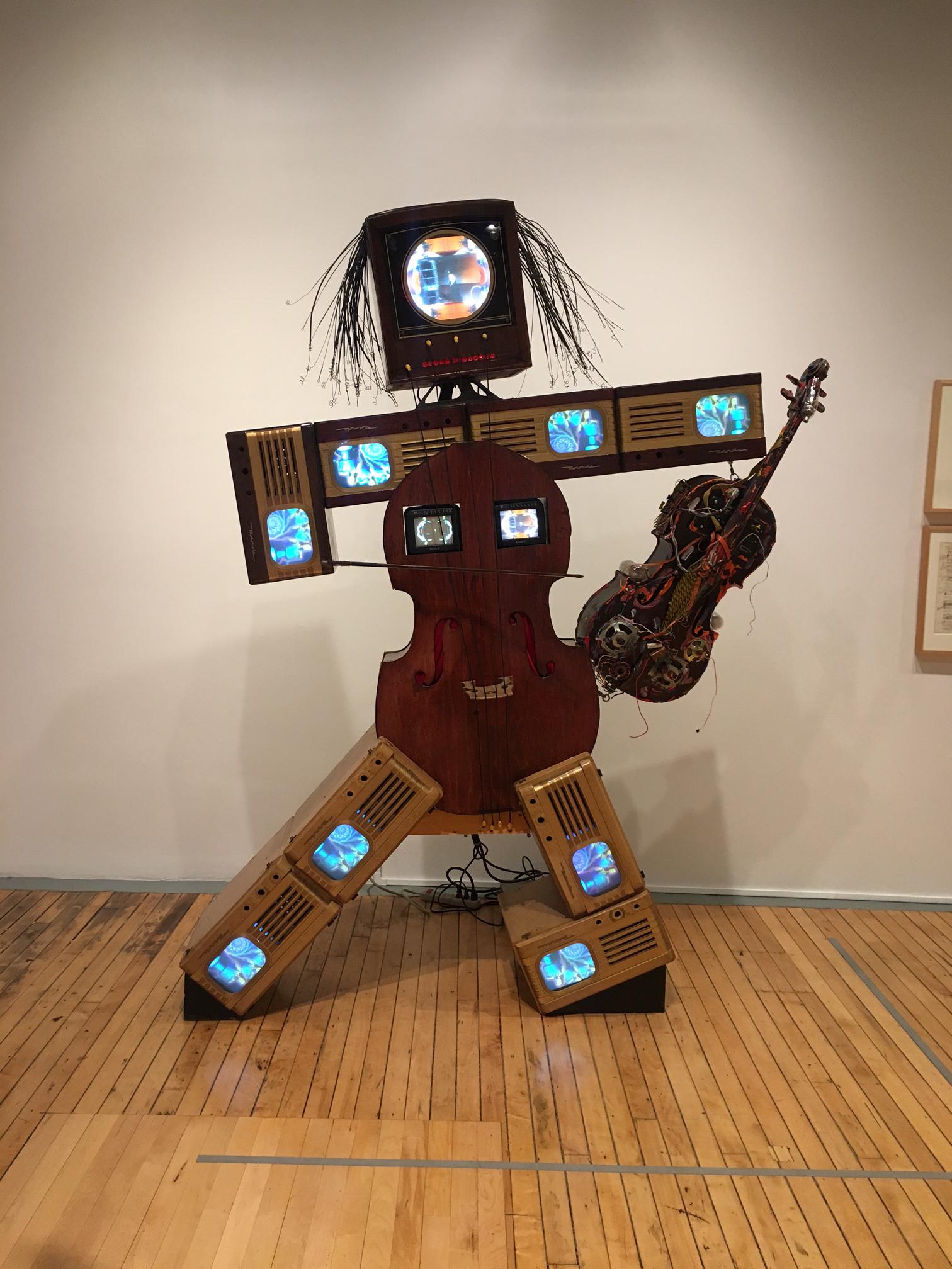 Charlotte Moorman II, 1995. Nam June Paik (American, born Korea, 1932-2006) Mixed media, cellos, viola, and television sets. Collection Rose Art Museum, Brandeis University.
