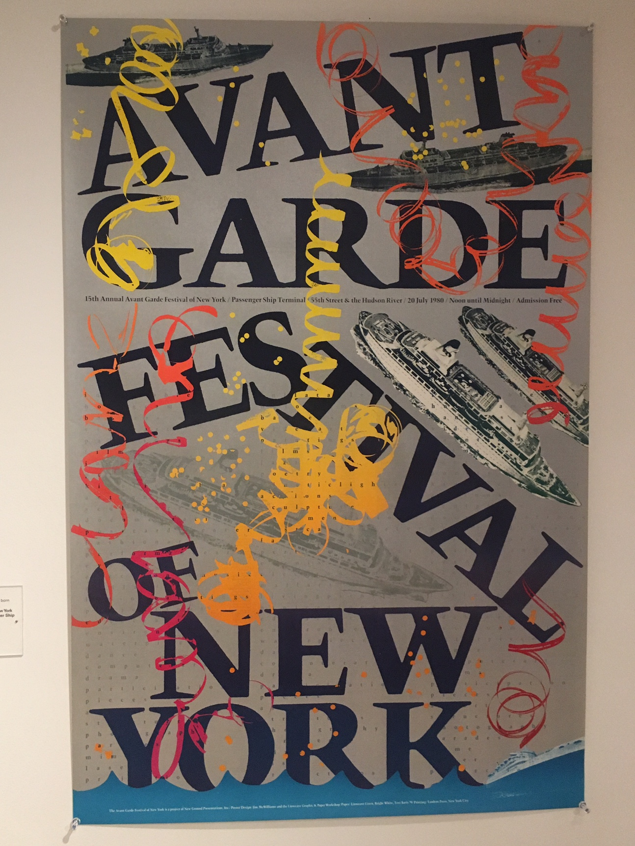 Poster for the 15th Annual New York Avant Garde Festival, Passenger Ship Terminal, July 20, 1980, Offset lithograph on paper, Courtesy Barbara Moore.