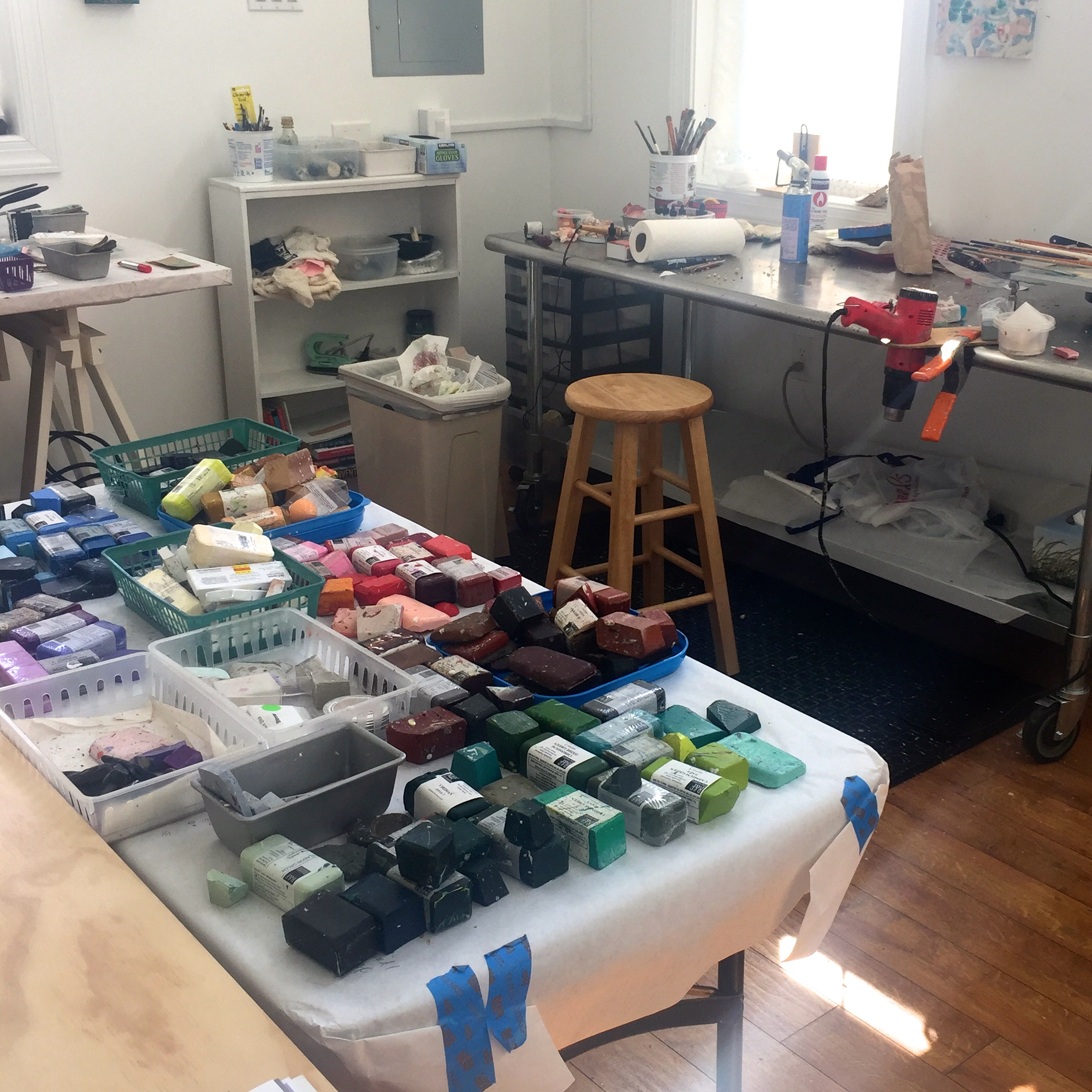 This feels like a candy store! I came home from the Encaustic Conference with some needed new paints, and laid out everything I had. More to come, since I won a raffle prize from Enkaustikos!