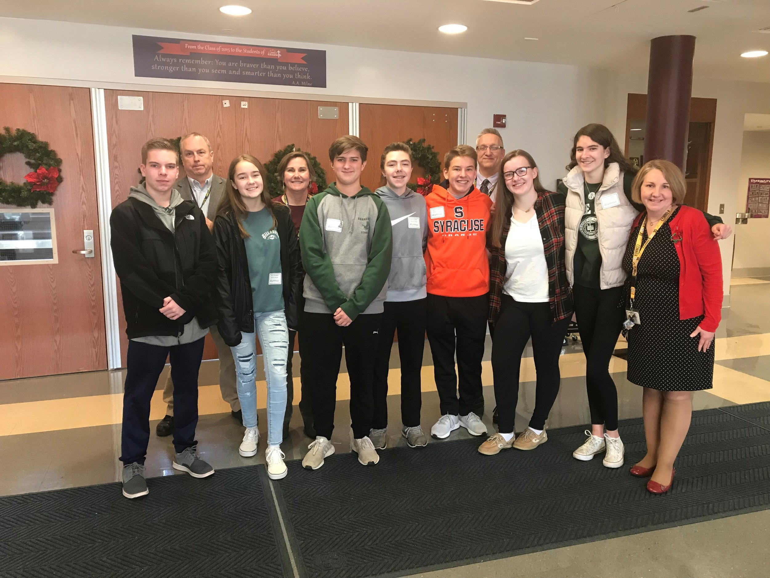 CLASS OF 2018:  Thursday, December 13, 2018: Today we had a very nice visit from several of our    #Classof2018    Alumni. All are now students at    Bishop Shanahan High School    (Class of 2022). From left: Michael Thais, Mr. Bill Kuhn, Olivia Miller, Mrs. Judith Kluth, Jack Ringenbach, Jason Hoertz, Jack Boncek, Mr. Andrew Shirker, Cathleen Fisher, Maggie Grant. and Ms. Jennifer Nangle. (Photo by Mrs. Sara Richardson)