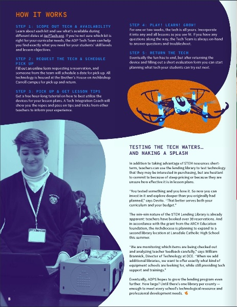"CLASS OF 2018: Jack Ringenbach, now a student at Bishop Shanahan High School, was featured in the Spring 2019 edition of IGNITE magazine. On page 8, his picture is published in an article: ""Looking for new STEM Resources? This library lends a hand."" IGNITE is an e-Magazine published for teachers and staff members in the Archdiocese of Philadelphia."