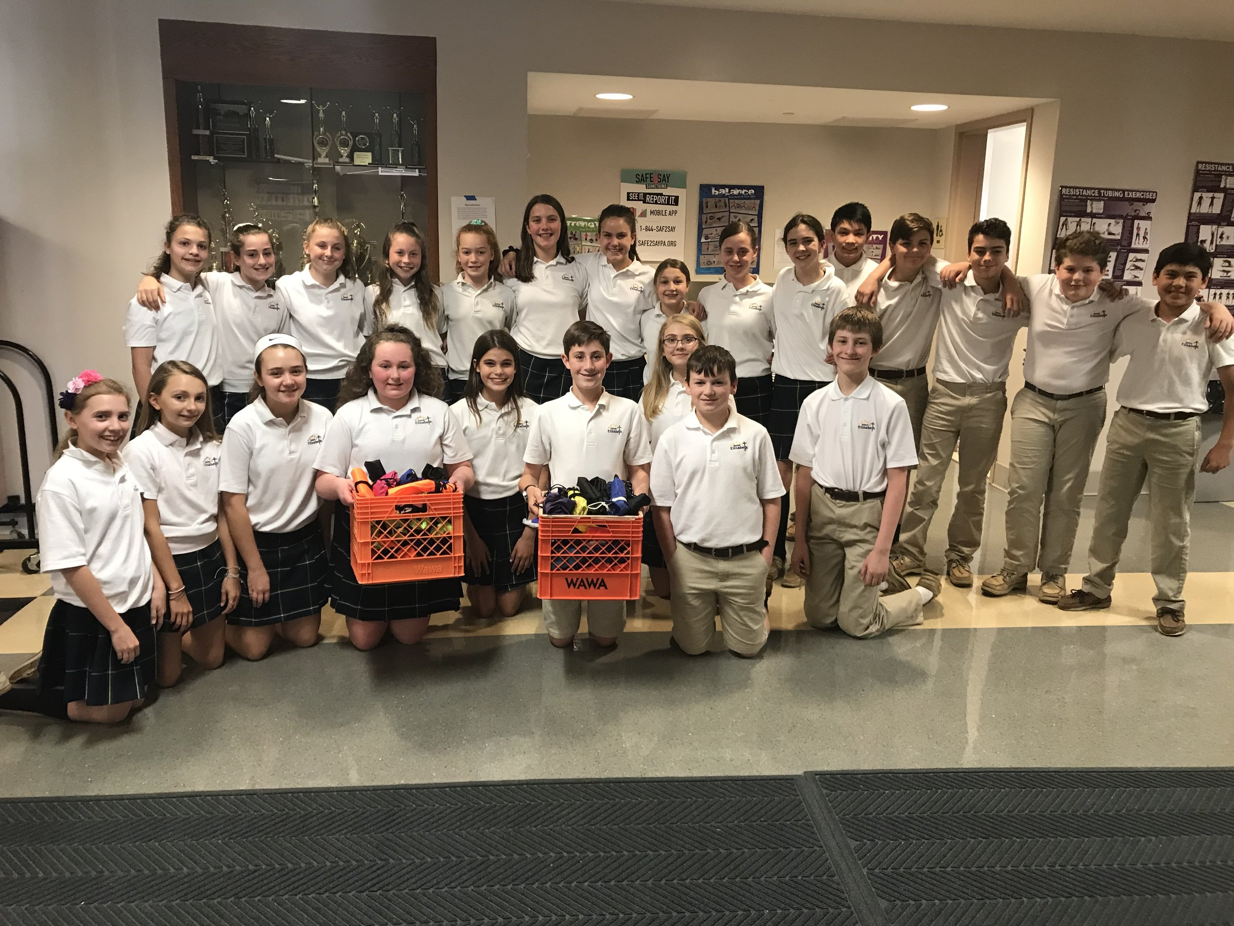 In May 2019, our Class of 2021 students sponsored a drawstring bag collection to benefit the Life Center of Delaware County. The drawstring bags are more durable than plastic shopping bags, so those who are homeless can have something more sturdy to carry around their belongings. They collected 134 bags in total from homerooms that contributed.