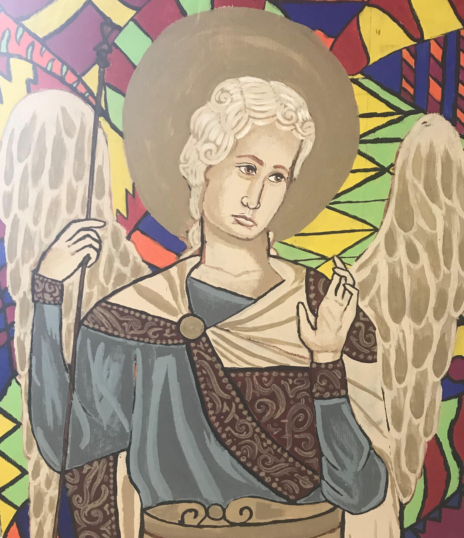 Saint Raphael, Archangel, Patron Saint of the Sick, painted by the Class of 2019.