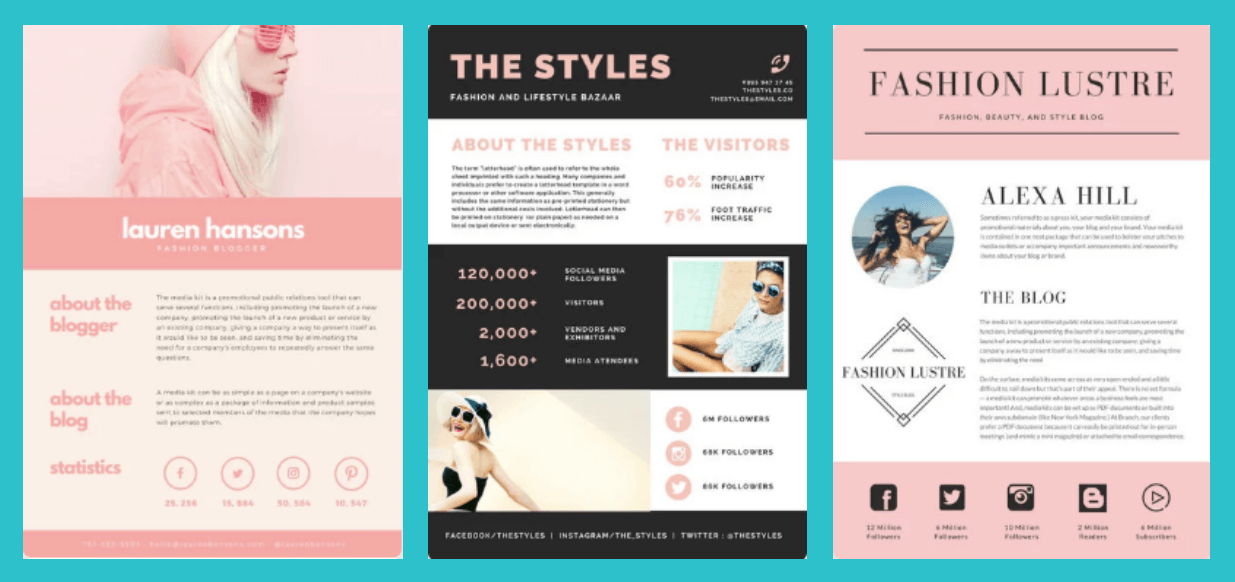 Examples of what your Media Kit could look like, courtesy of Canva.