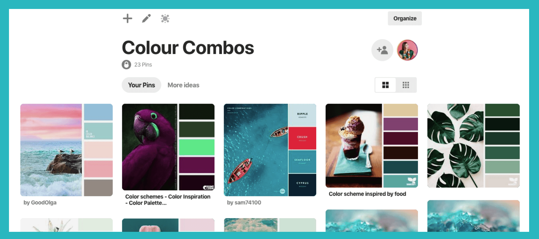 Here's what my secret color combos mood board on Pinterest looks like… Ahhh - it's beautiful.