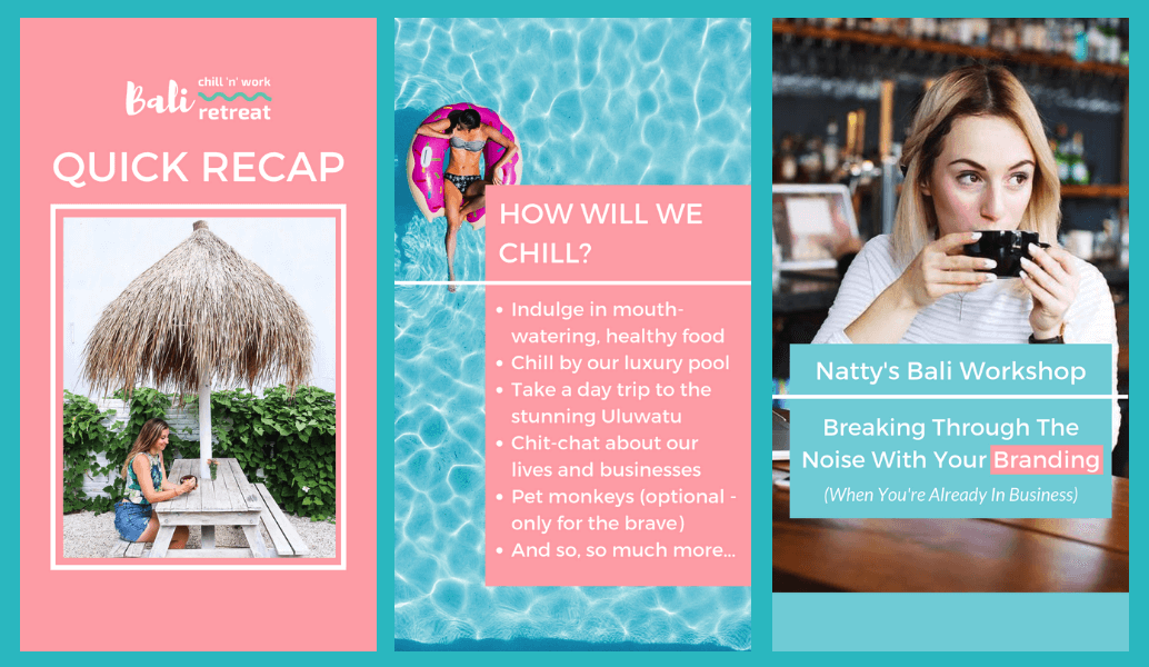 For those of you that were asking how the    Bali retreat    Instagram Stories were made, the answer is    CANVA   . Yes - all these beauts were made in this amazing and    free    program.