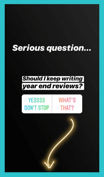 Curious about my year end review? Read it    here   .