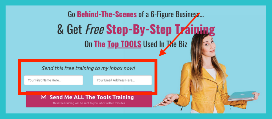 For example… when you sign up for my free online business    tools training   , you are added to my email list so that I can send you access to the tools training and other free goodies that I've got up my sleeves!