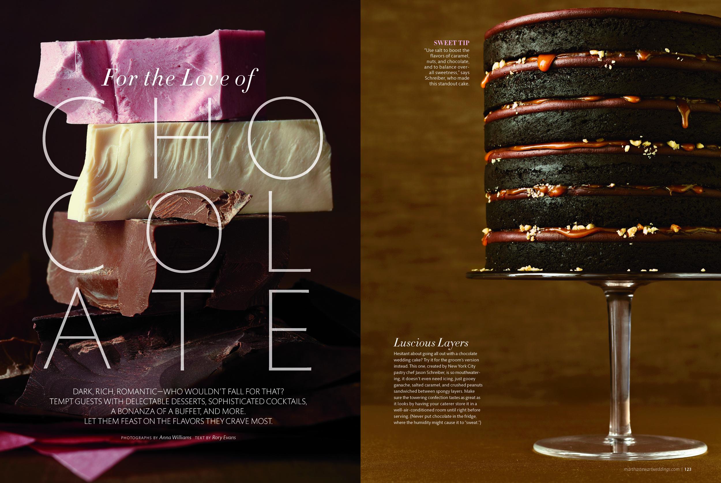 Chocolate Caramel Peanut Cake, Martha Stewart Weddings