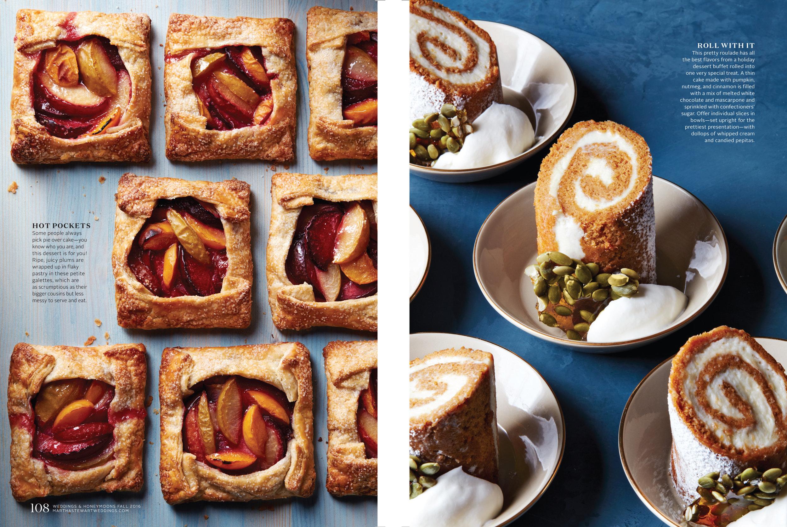 Plum Galettes and Pumpkin Roulade Cake, Martha Stewart Weddings
