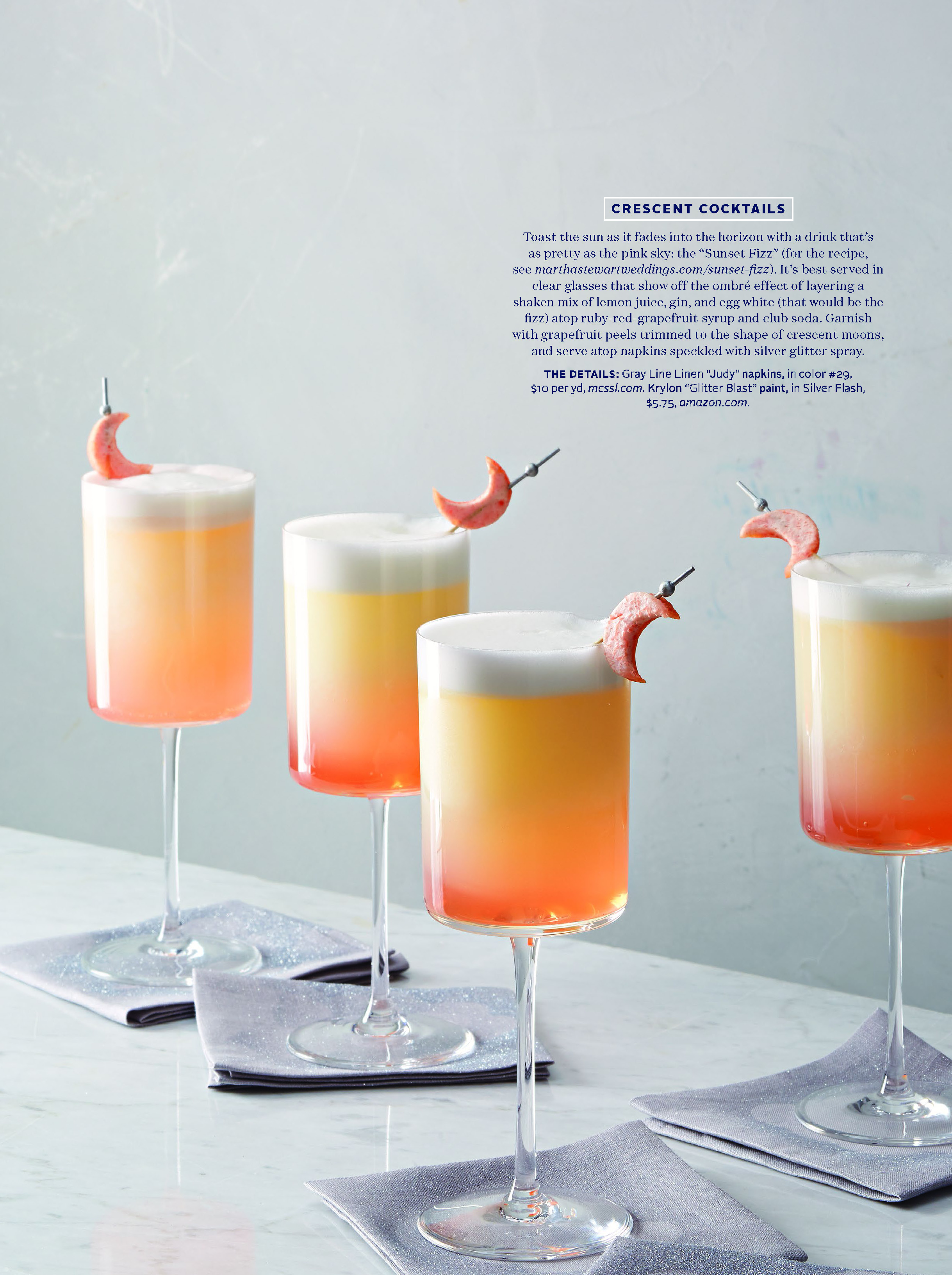 Sunset Fizz (Grapefruit) Cocktail, Martha Stewart Weddings