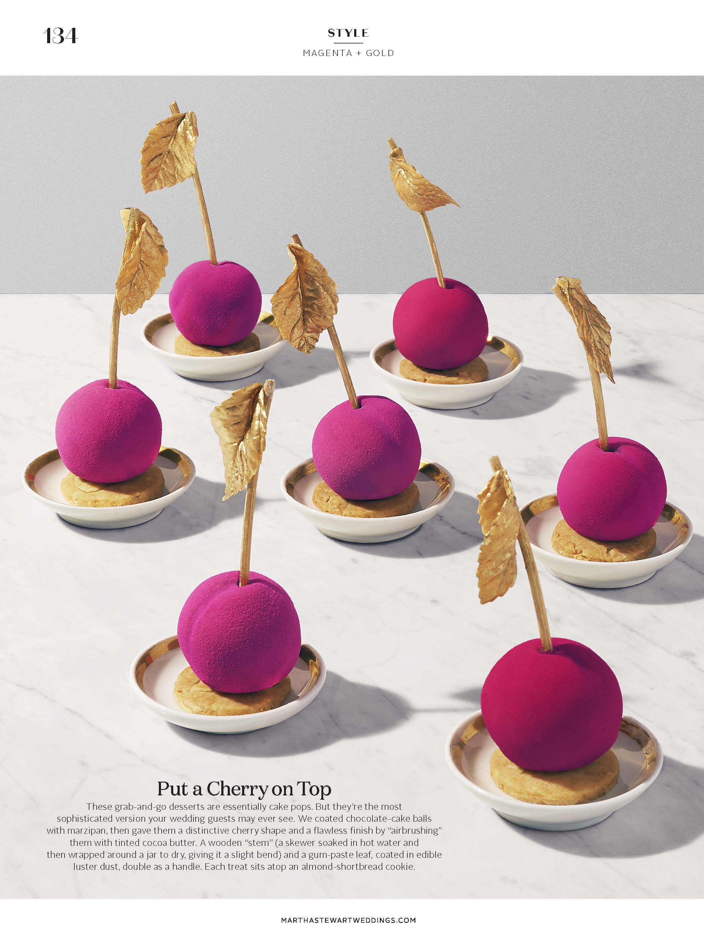 Cherry Chocolate Cake Pops for Martha Stewart Weddings