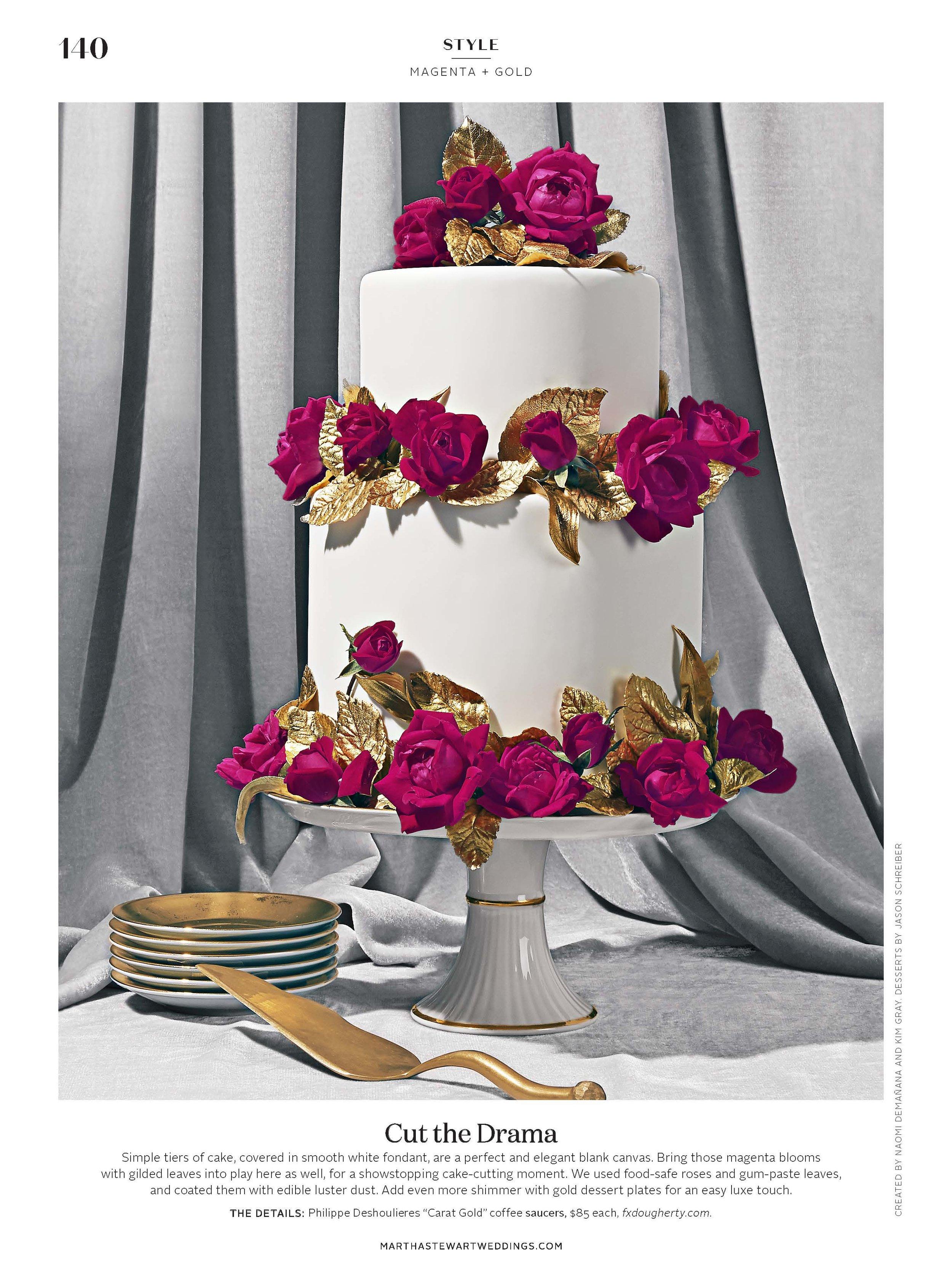 Magenta and Gold Cake, Martha Stewart Weddings