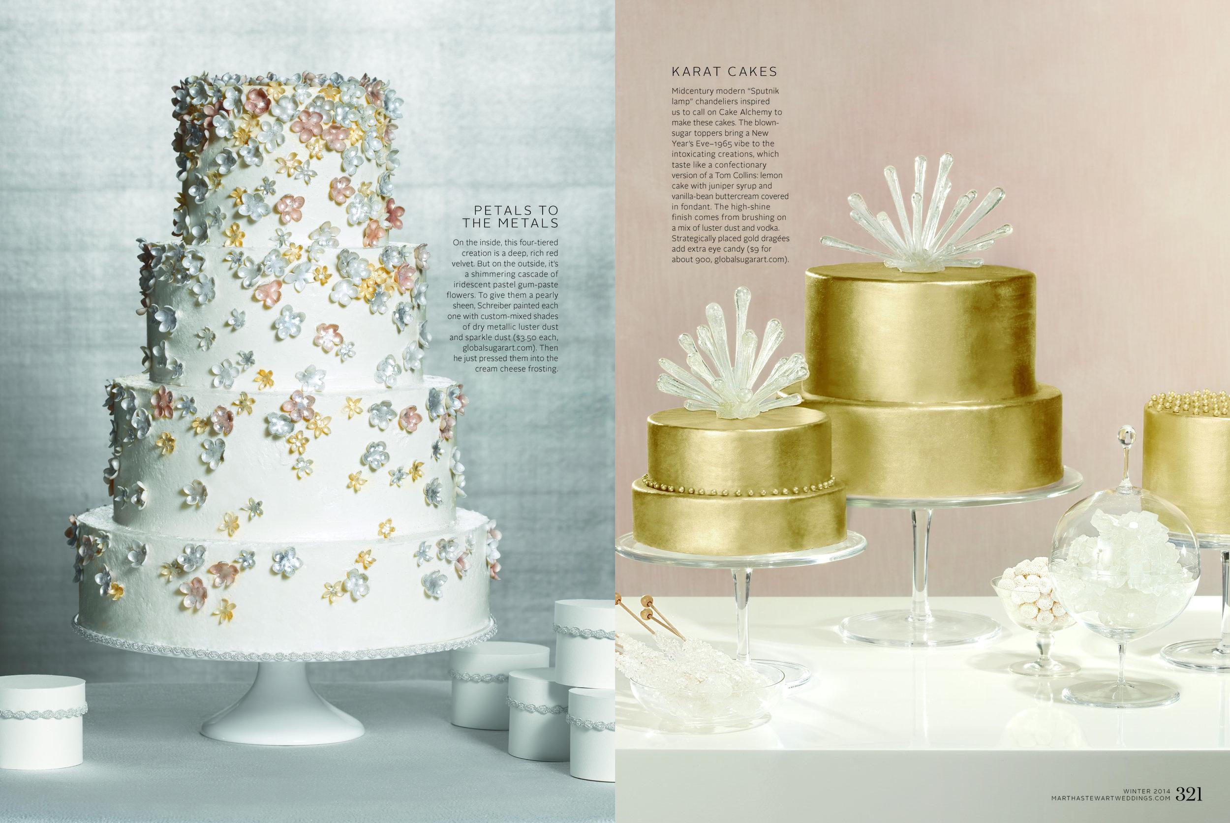 Luster Cakes, Martha Stewart Weddings