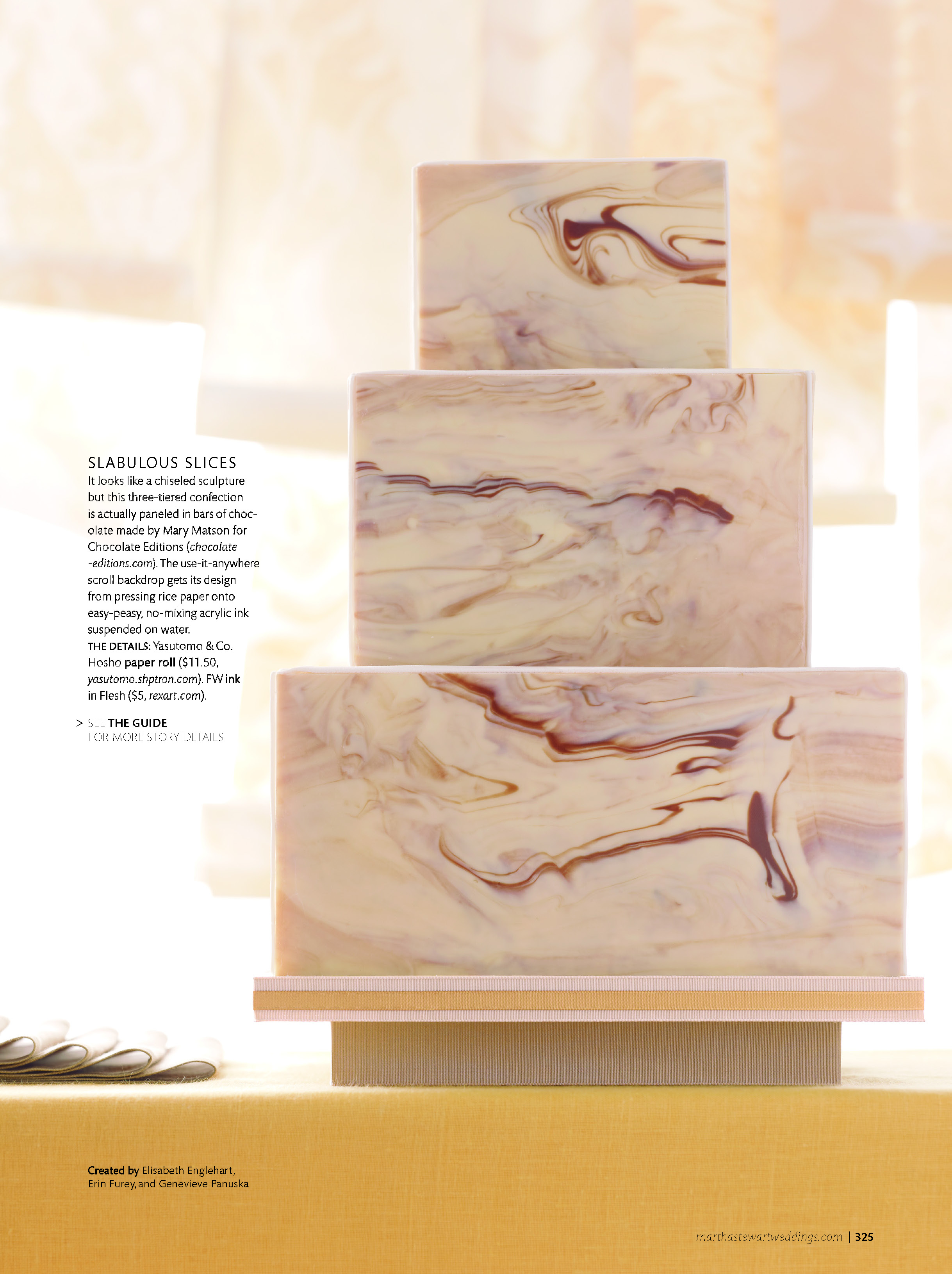 Marbleized Chocolate Wedding Cake, Martha Stewart Weddings