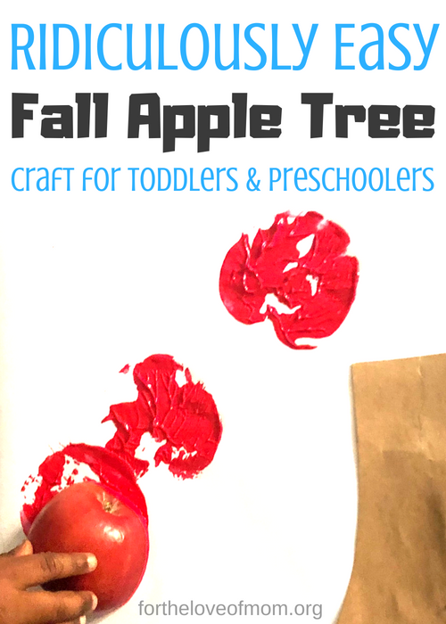 Fall brings so many wonderful opportunities for memories but the memories just don't have to be outdoors. Your toddler will have a blast making this ridiculously easy fall apple tree craft! #fallactivities #kidscrafts #toddlercrafts #fallcraftsforkids #preschoolcrafts - fortheloveofmom.org
