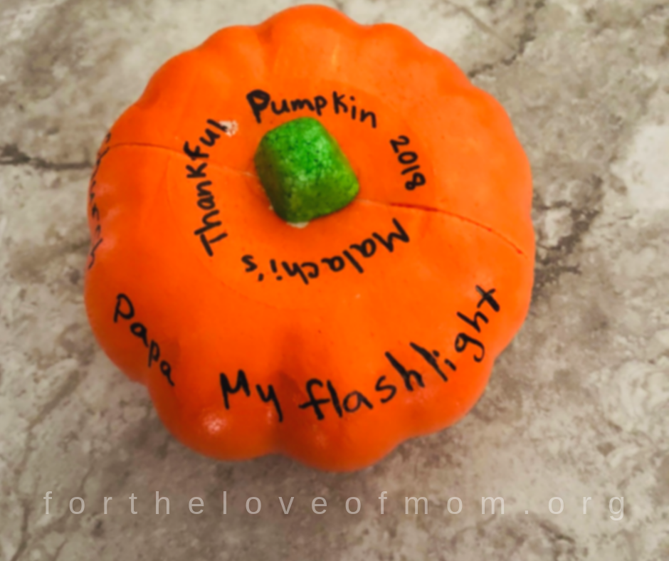 Thankful Pumpkin - Kids Thanksgiving Activities - fortheloveofmom.org