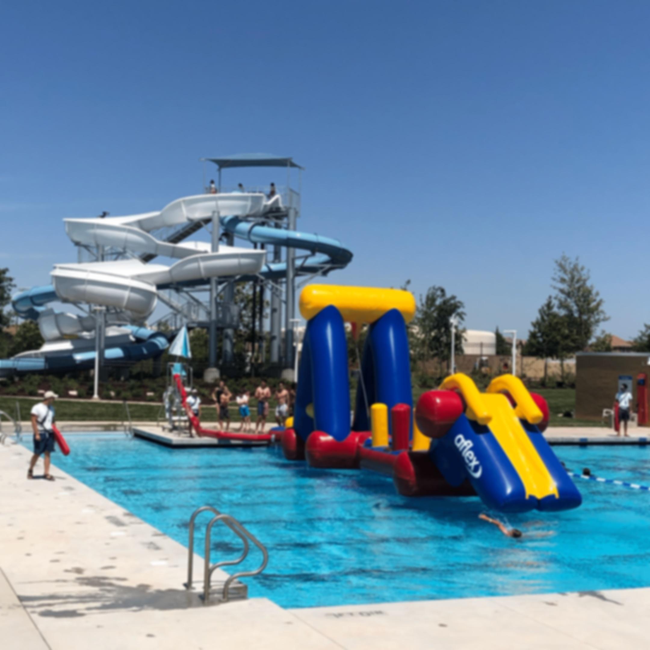 Elk Grove Aquatics Center - Inflatable Obstacle Course - Waterslide - Elk Grove, CA