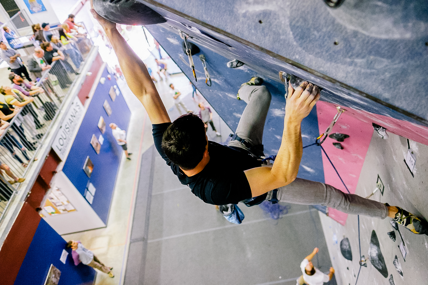 Lead Wall - Step Up your game. The lead wall is the main feature of our Grand Island and for advanced climbers only. Not Up for it yet? Grab a spot on the mezzanine viewing area and be inspired watching climbers tackle these routes.