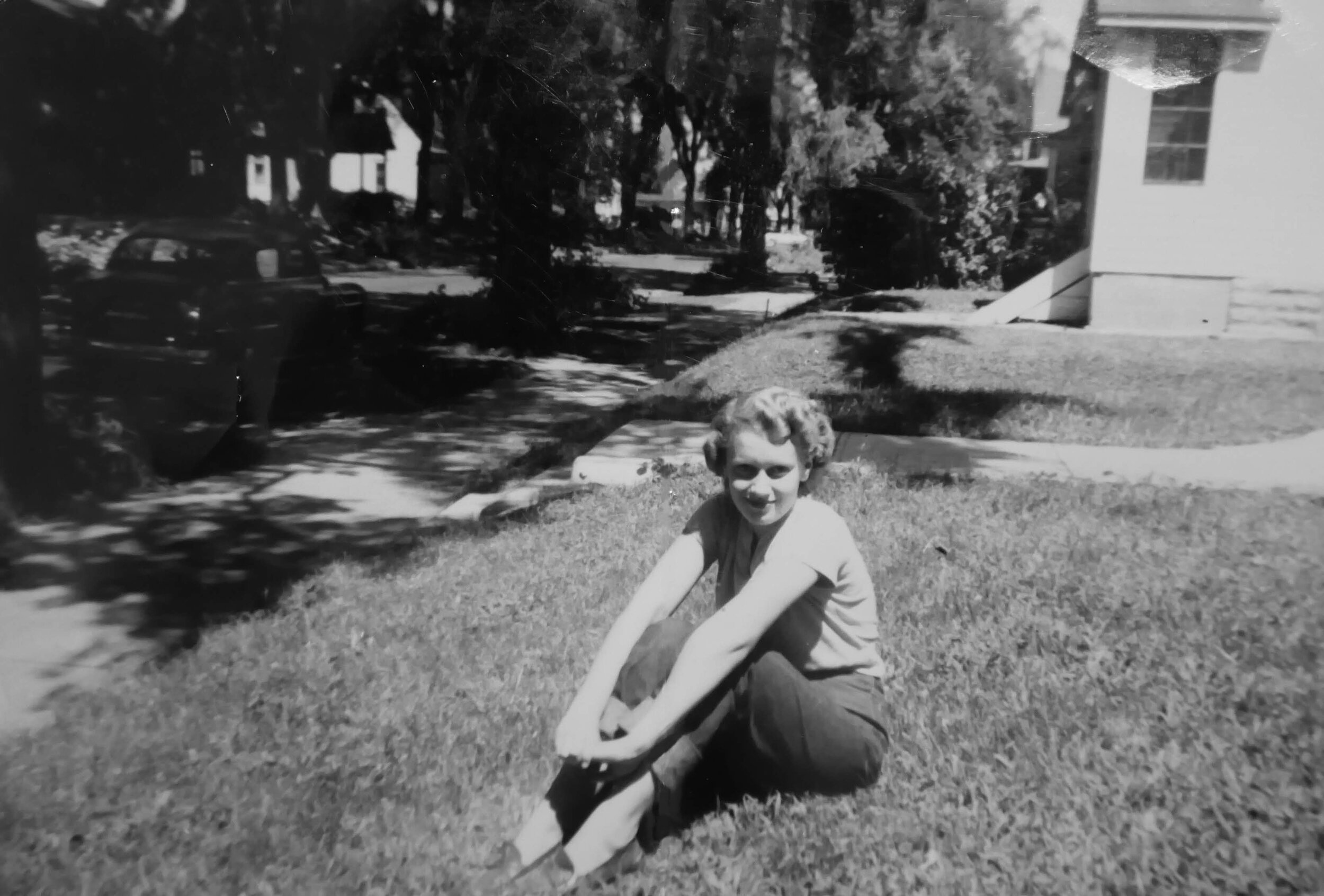 "My dad, Randy Harrison shared this caption on Instagram alongside this photo. ""My mother, not yet married, when she lived in Minneapolis' Lowry Hill neighborhood while working for Old Dutch Potato Chips (1951 approx). She was anxious to get off the farm (Glen Township, rural Aitkin County) and join her older siblings in the big city."""