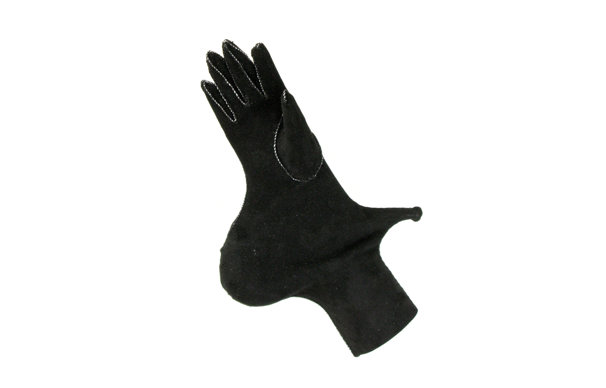 SIDEWAYS,  2012. Glove leather, thread, tobacco pipe; 9 x 6 x 3 inches