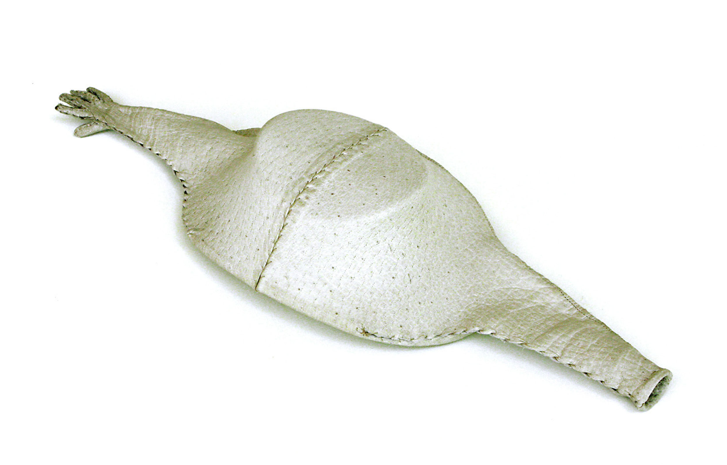 SIMPLY RAVENOUS , 2012. Glove leather, thread, Stephen's miniature wooden hat form; 4 x 12 x 6 inches