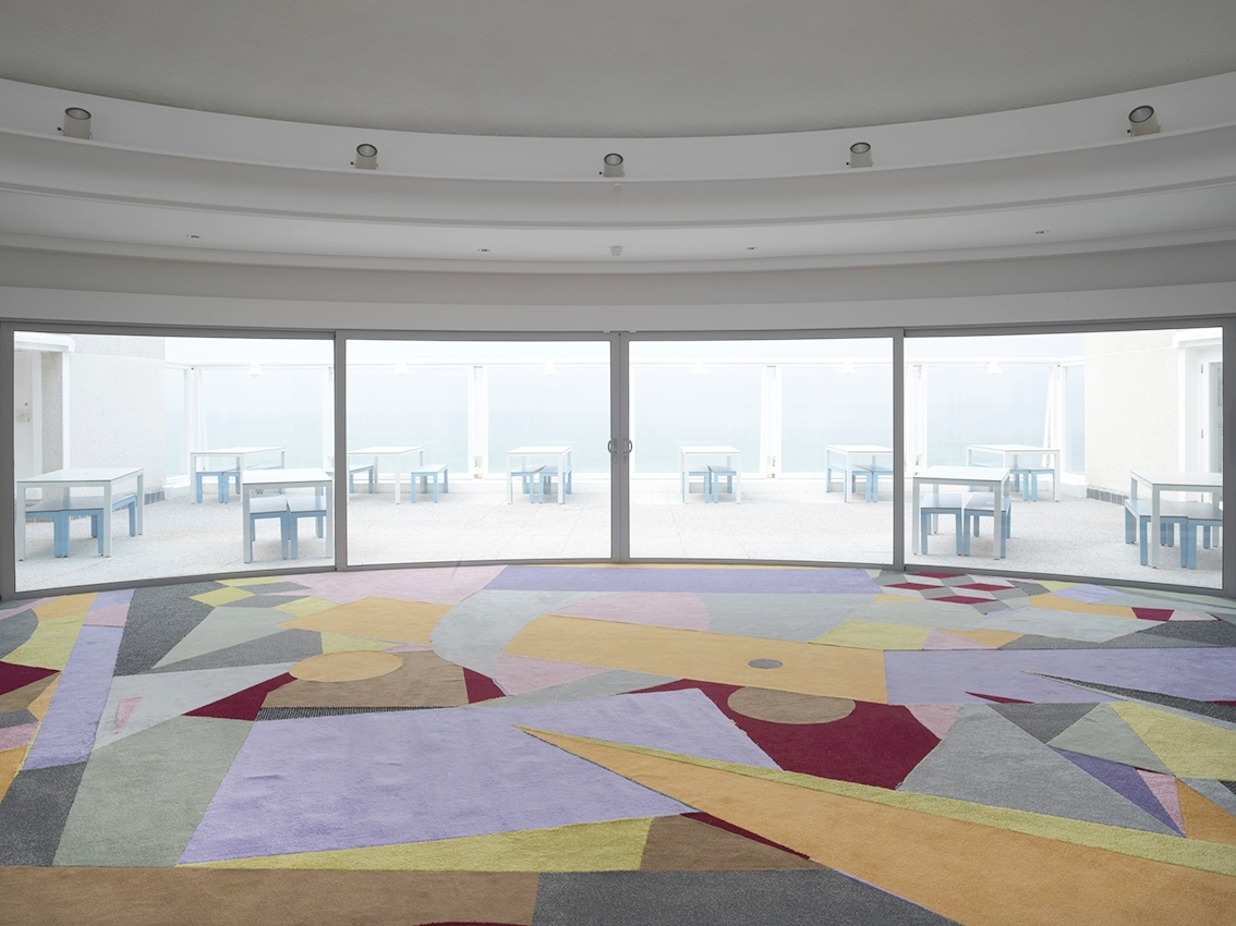 The Six Pillars of Modernism , Tate St Ives, 2017. photo Marcus Leith  Carpet designed and created in collaboration with Ella Frears