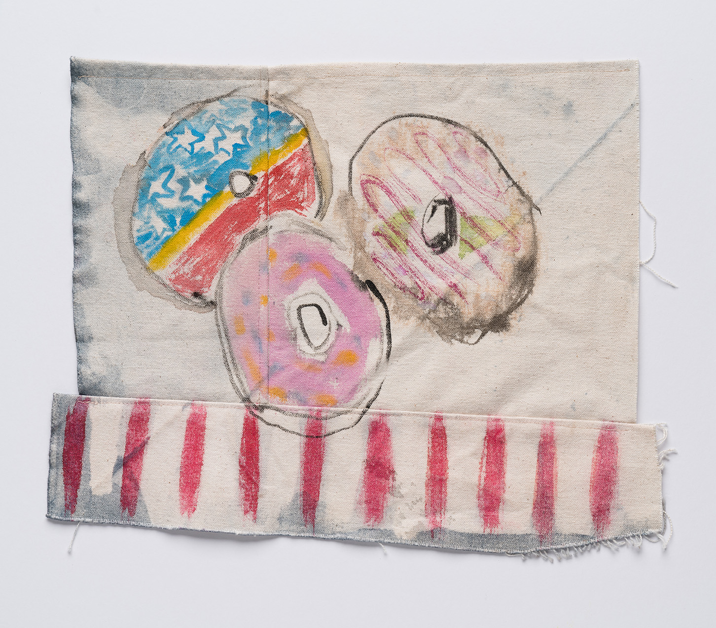 Donuts , 2018  ink, indigo and watercolour on canvas