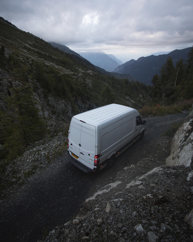 Off-roading down little mountain roads in Switzerland.