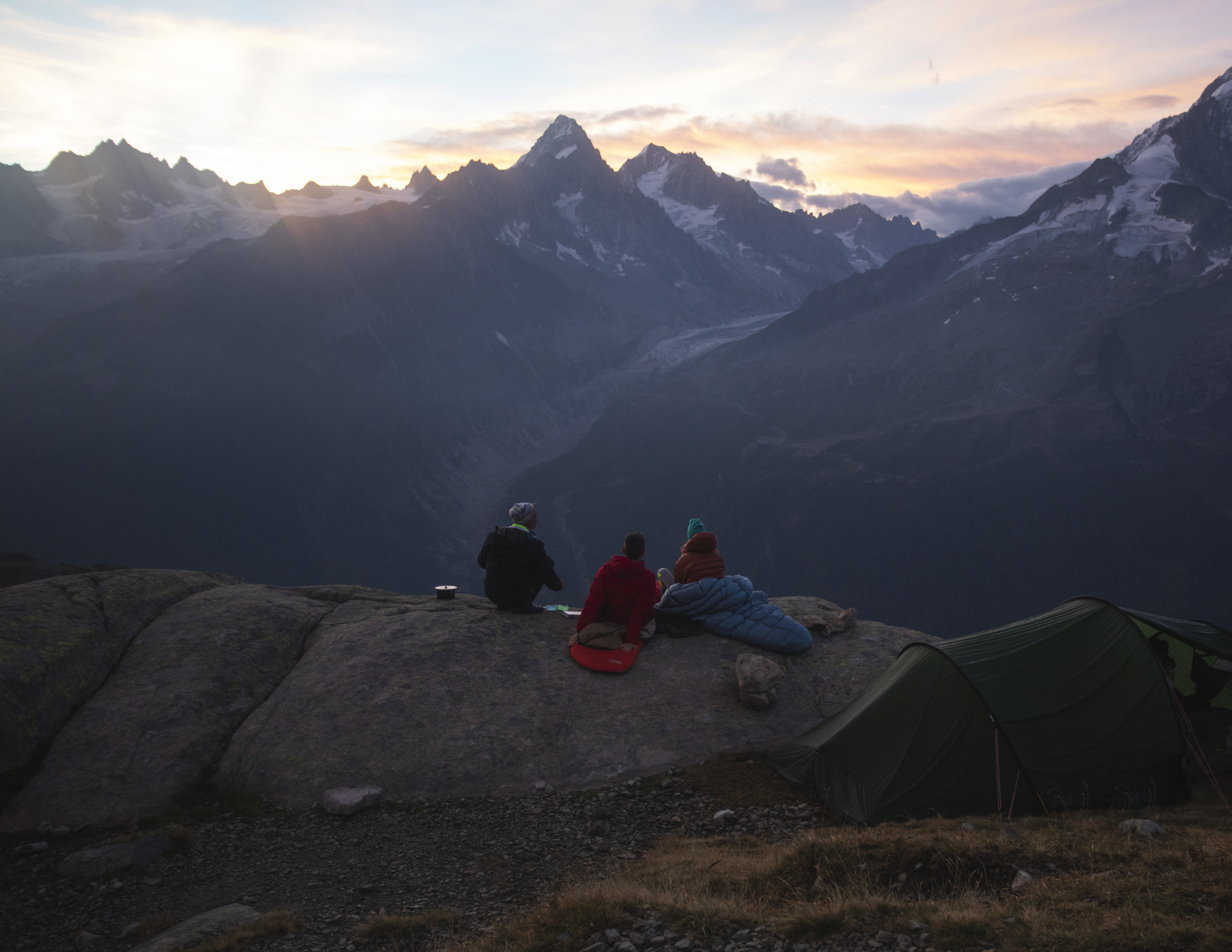 Looking out towards the glacier d'Argentiere as the sunrises.