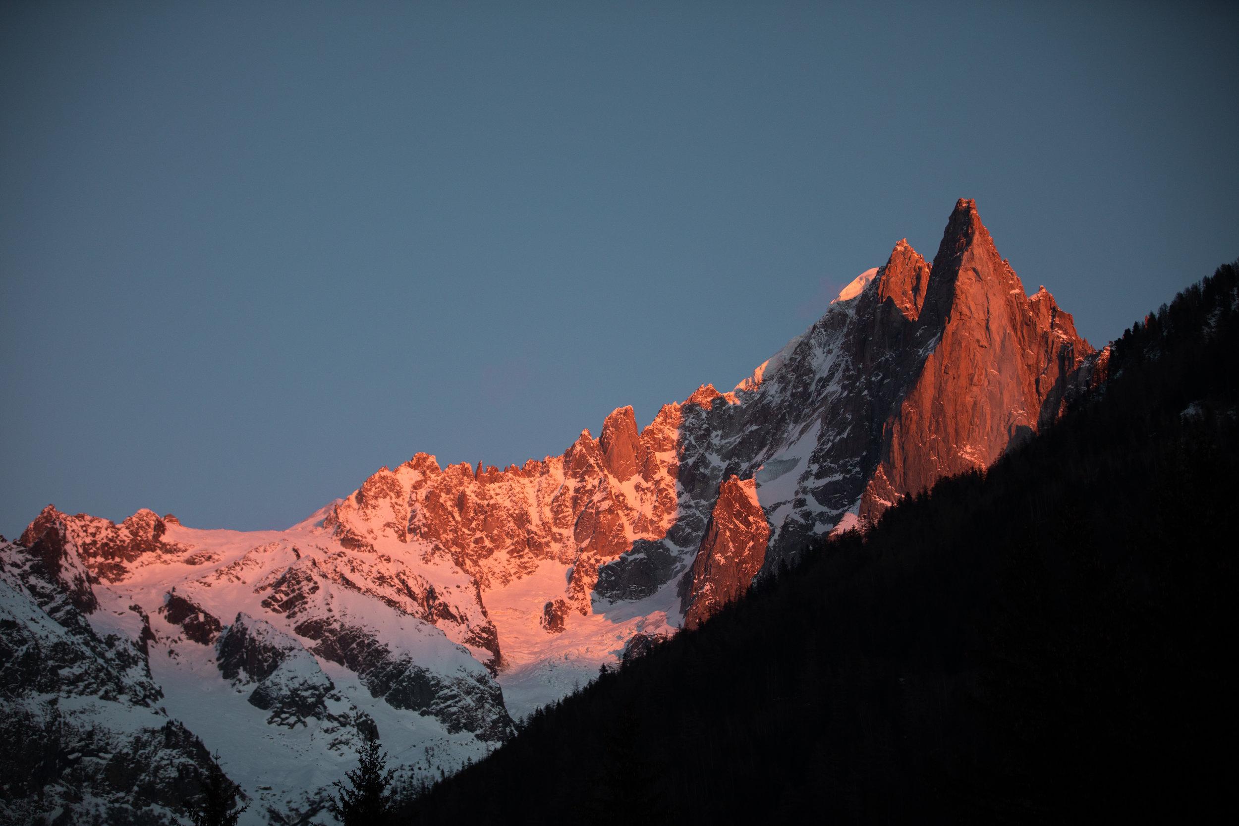 Les Drus, 3754m alt bathed in alpine glow.