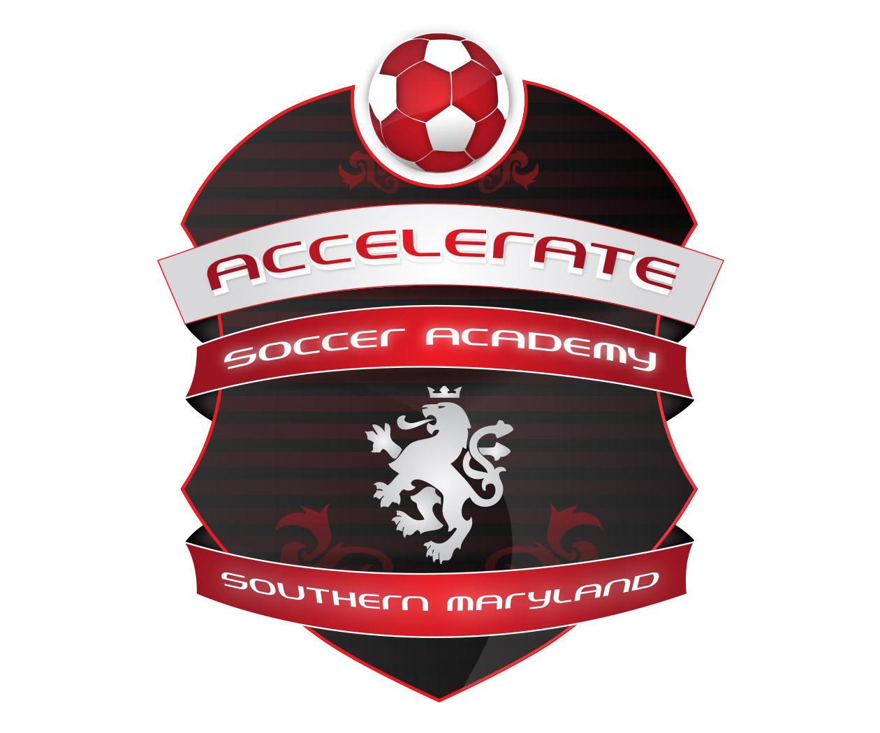 custom soccer logo design accelerate soccer academy by jordan fretz design