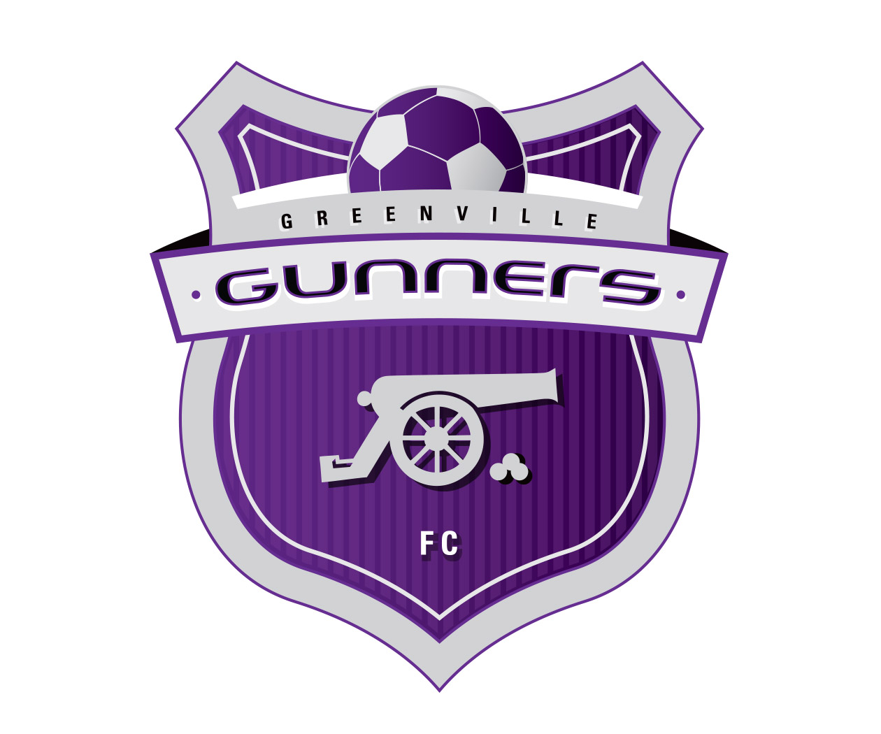 custom soccer logo design for the greenville gunners by jordan fretz design