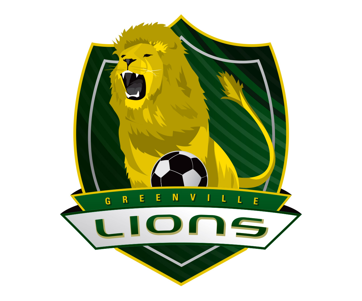 custom soccer logo design for greenville lions soccer by jordan fretz design
