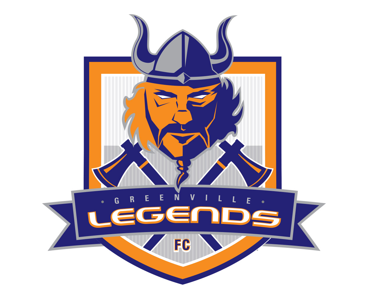 custom soccer logo design for the greenville legends soccer team by jordan fretz design