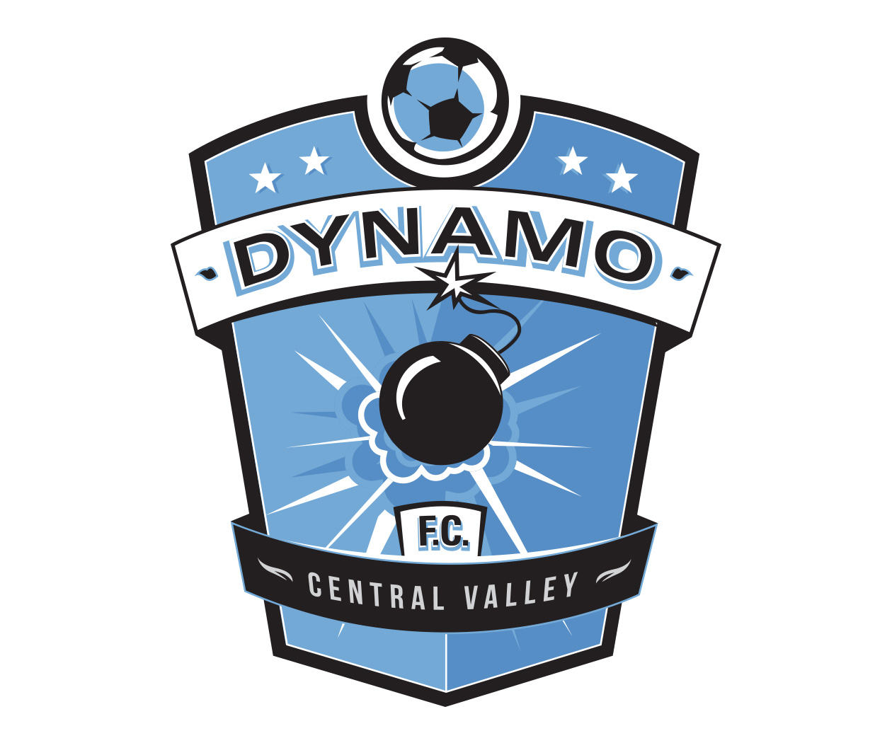 custom soccer logo design for dynamo soccer by jordan fretz design