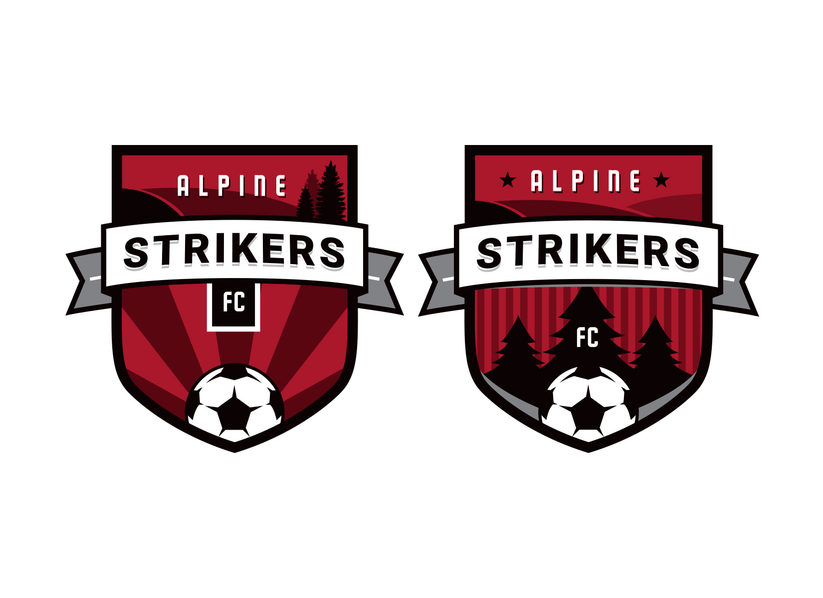 Alpine Strikers soccer badge design option