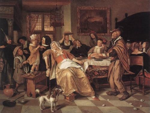 Jan Steen.  The Bean Feast . Oil on canvas. 1668. Museum Hessen, Kassel.