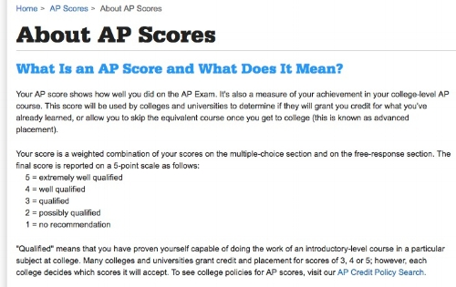 From  The College Board's website