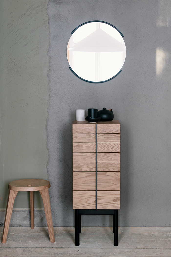 with Column Chest by Gabriel Tan and Dovetail Stool by Staffan Holm for Ariake