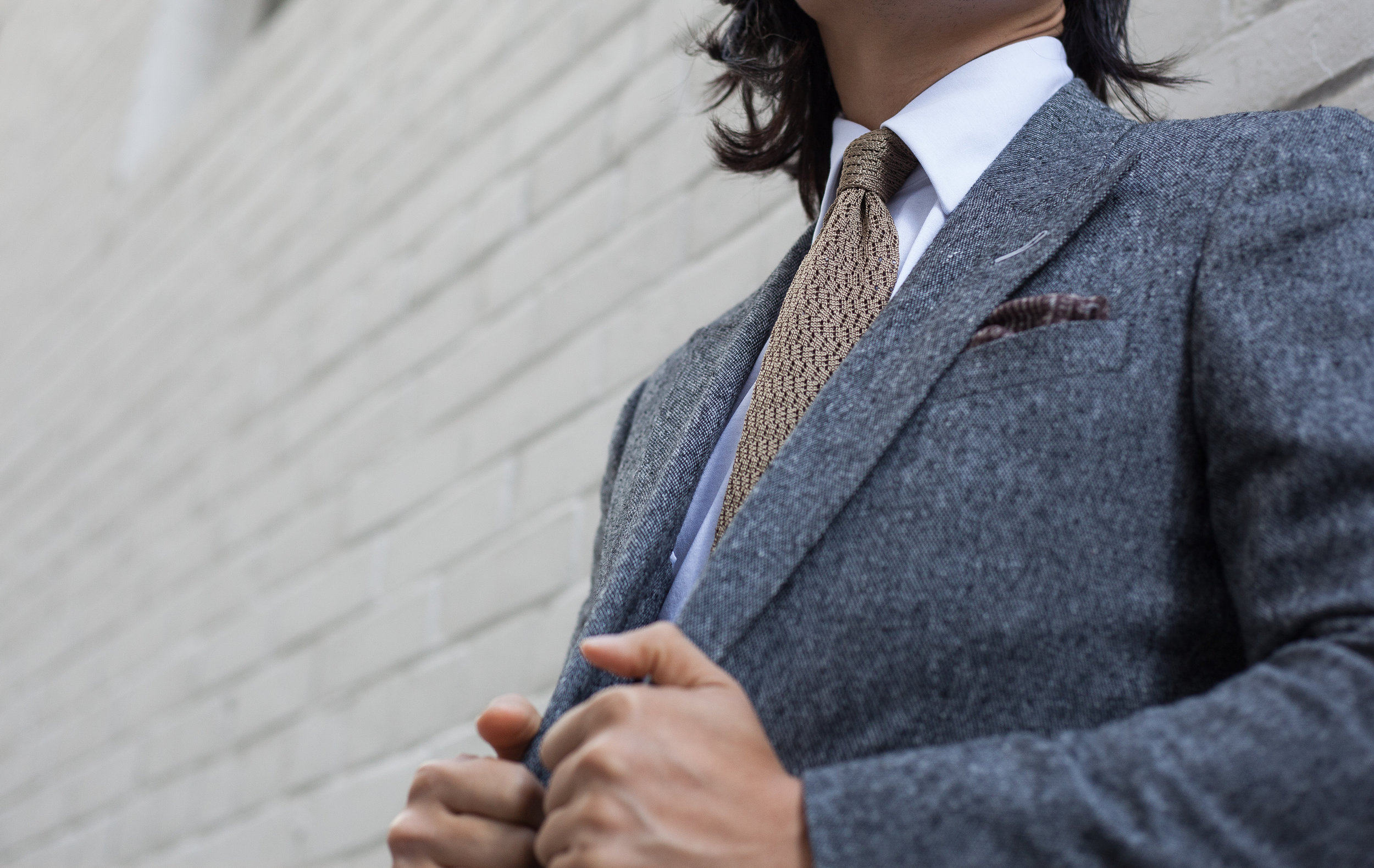 G  arrison Essentials Classic Como Knit tie in Sand - $95