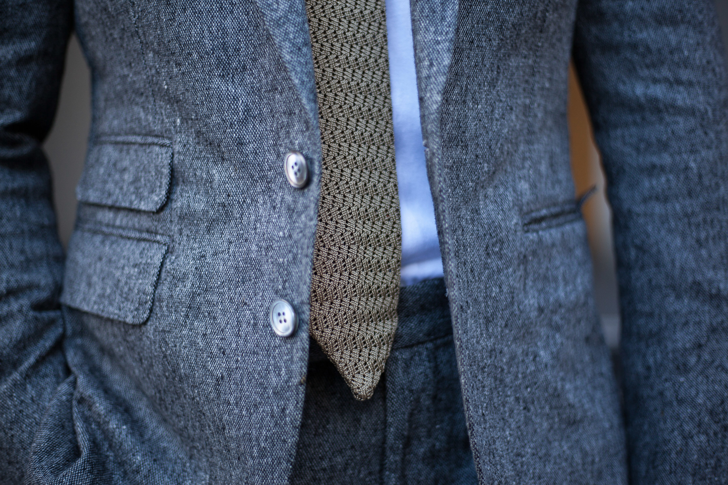 Garrison Essentials Classic Como Knit tie in Sand - $95
