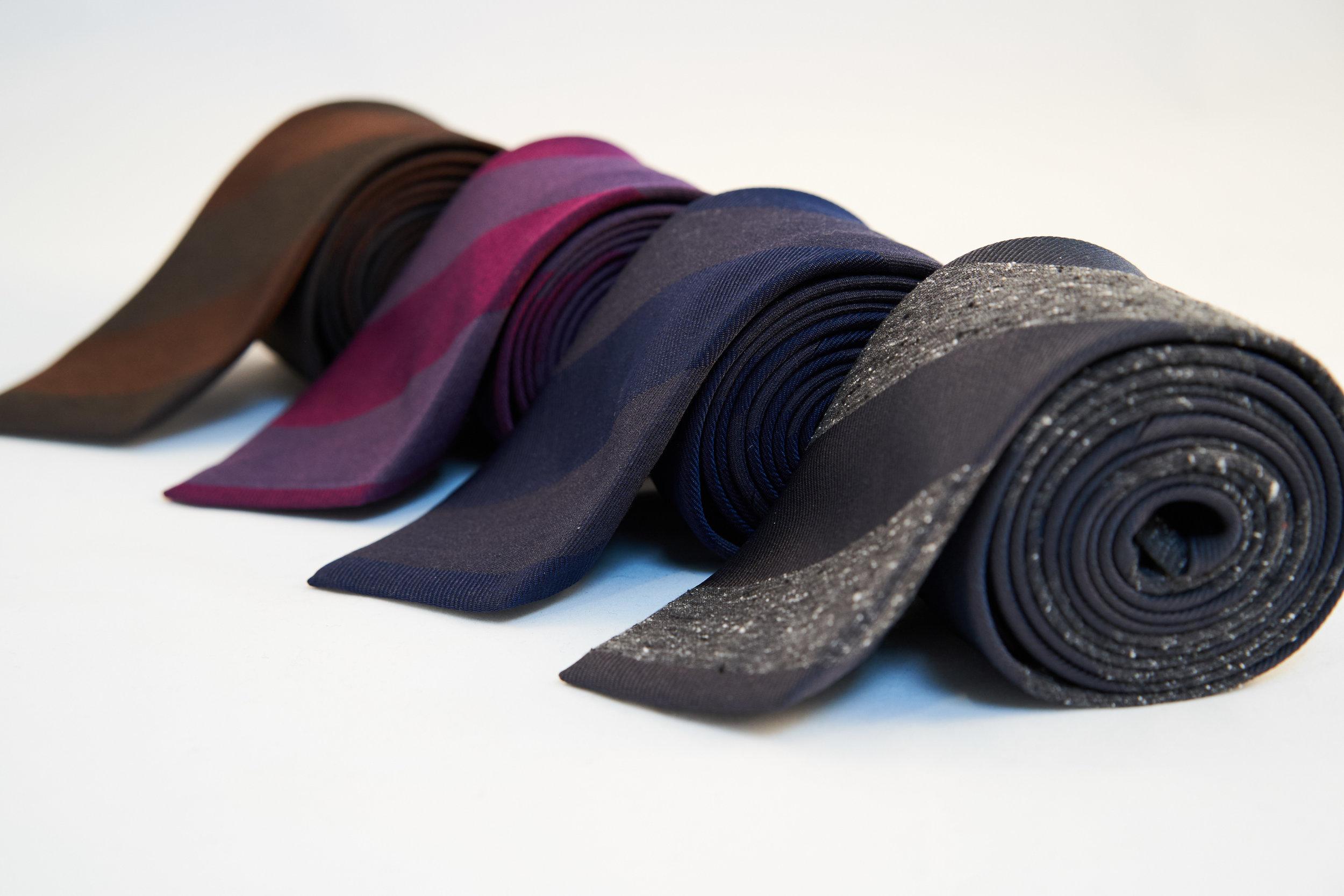 Garrison Essentials Repp Stripe Silk Tie in Brown, Purple, Navy and Charcoal - $55